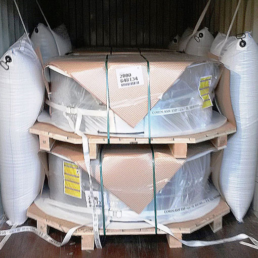 Example of dunnage bags in a container protecting coils